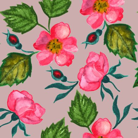 Watercolor seamless pattern with roses. Vector vintage clipart.  イラスト・ベクター素材