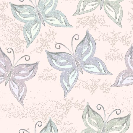 Seamless grunge pattern with watercolor butterflies. Vector vintage print.
