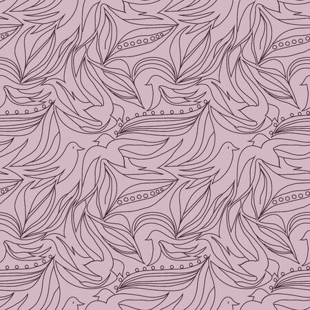 Seamless delicate hand drawn pattern with birds. Vector print for textile design, wallpaper, pattern fills.