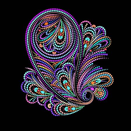 Paisley - colorful folk art dot pattern. Traditional ethnic ornament. Object isolated on black background. Vector print.