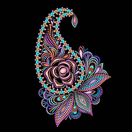 Paisley rose - colorful folk art dot pattern. Traditional ethnic ornament. Object isolated on black background. Vector print.  イラスト・ベクター素材