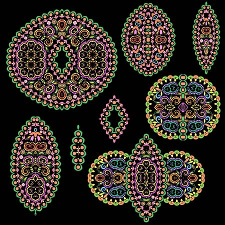 Bright bohemian ethnic cliche with circles and decorative elements. Vector set of various ornaments, deco template. Oriental trendy print for decoration, gift, design, for womens clothing.