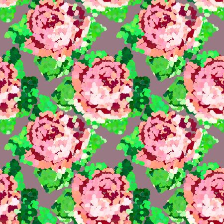Seamless mosaic abstract colored pattern with pink roses. Vector clipart for design, for fabric.  イラスト・ベクター素材