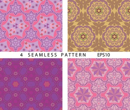 Seamless vintage abstract pattern. Vector set of 4. ?lassic abstract geometric colorful backgrounds.