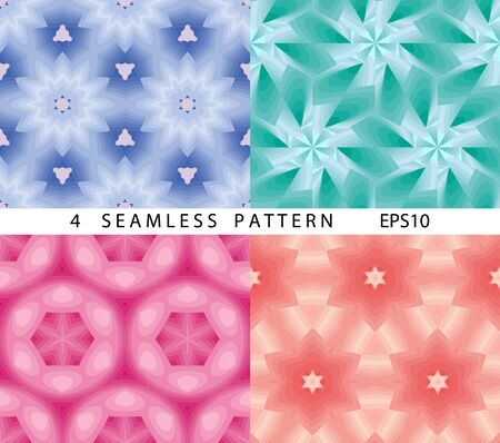 Seamless cosmic space abstract pattern. Vector set of 4. ?lassic abstract geometric colorful backgrounds.