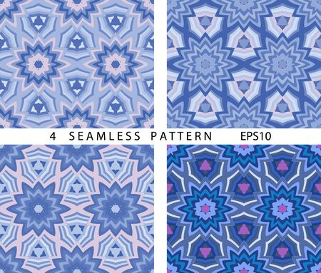Seamless winter abstract pattern. Vector set of 4. ?lassic abstract geometric hexagonal backgrounds.  イラスト・ベクター素材
