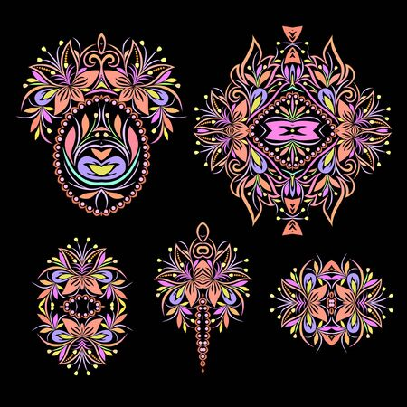 Colorful collection of floral patterns and ethnic elements.Traditional eastern symbols for decoration, for clothes. Ethnic ornament - object isolated. Vector bright print.  イラスト・ベクター素材