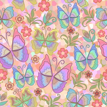 Seamless beautiful pattern with butterflies and flowers. Stained glass picture. Vector background.Use for wallpaper, pattern fills,textile design.  イラスト・ベクター素材