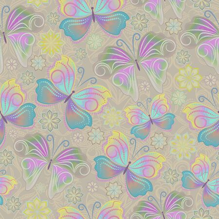 Seamless pattern with flowers and butterflies out of small dots. Delicate ornament - classic print for design. Vector background.