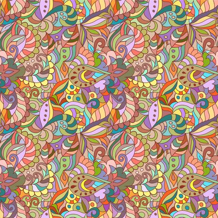 Seamless colored abstract vector background with elements . Hand drawn pattern.