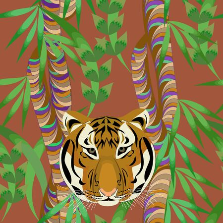 Seamless bright tropical pattern. Tiger in the jungle. Vector print for design.