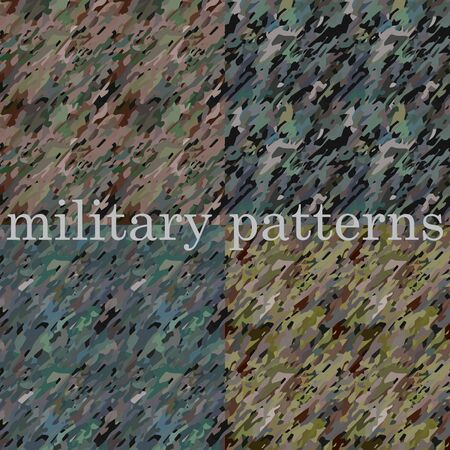 Military seamless patterns. Grainy texture for design. Vector set.