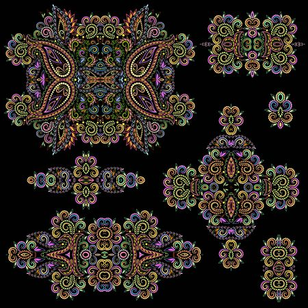 Bright bohemian ethnic cliche with paisley and decorative elements. Vector set of various ornaments, deco template. Oriental trendy print for decoration, gift, design, for womens clothing.