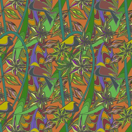 Seamless tropical pattern with creepers. Exotic green hand drawn picture. Vector clipart.