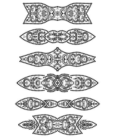 Deco borders. Black and white classical ornamental pattern. Beautiful templates for design. Vector set of 6.