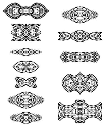 Deco borders. Black and white classical ornamental pattern. Beautiful templates for design. Vector set of 12.