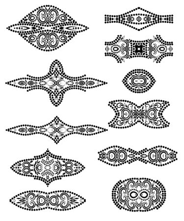 Deco borders. Black and white classical ornamental pattern. Vector set of 11.  イラスト・ベクター素材