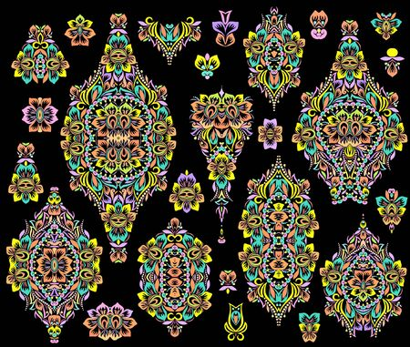 Colorful collection of floral patterns and ethnic elements.Traditional eastern symbols for decoration, for clothes. Ethnic ornament - object isolated. Vector bright print. Illustration