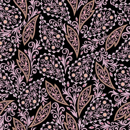 Seamless colorful pattern with paisley. Traditional ethnic ornament. Vector print. Use for wallpaper, pattern fills,textile design.  イラスト・ベクター素材