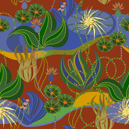 Seamless colored tropical exotic pattern with flowers and algae . Tropical exotic picture. Vector clipart.  イラスト・ベクター素材
