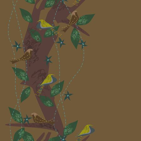 Seamless colored abstract pattern with birds on the tree. Vector clipart.