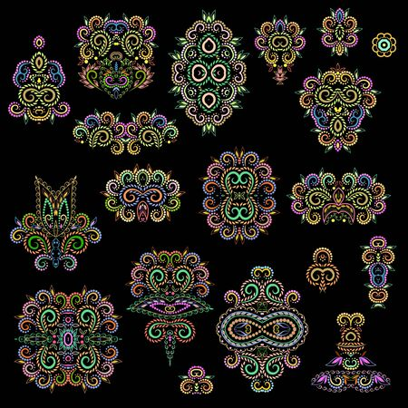 Bright bohemian ethnic cliche with decorative elements. Vector set of various ornaments, deco template. Oriental trendy print for decoration, gift, design, for womens clothing.  イラスト・ベクター素材