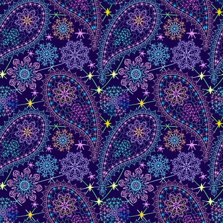 Seamless winter lace pattern with paisley. Traditional bright ethnic ornament. Vector print. Use for wallpaper, pattern fills,textile design.  イラスト・ベクター素材