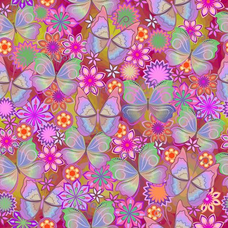 Seamless beautiful fun pattern with butterflies and flowers. Vector background.Use for wallpaper, pattern fills,textile design.