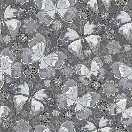Seamless pattern with flowers and butterflies out of small dots. Grey ornament - classic print for design. Vector background.