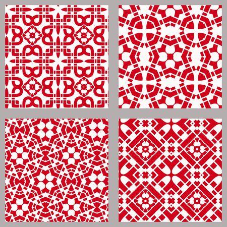 Patrón geométrico chino sin fisuras con símbolos tradicionales. Adorno étnico asiático. Vector conjunto de 4. Uso para papel tapiz, rellenos de patrón, diseño textil.