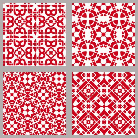 Seamless chinese geometric pattern with traditional symbols. Asian ethnic ornament. Vector set of 4. Use for wallpaper, pattern fills,textile design.