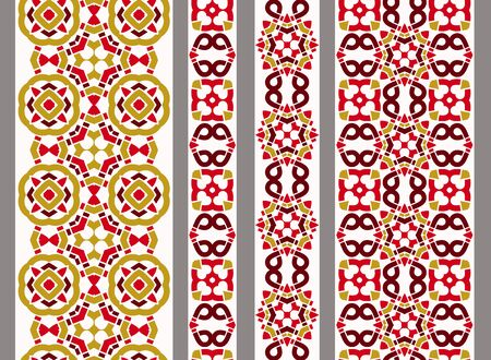 Vertical seamless chinese geometric border with ethnic elements. Vector set of 4. Traditional background. Use for embroidery, braid, tape, ribbon.