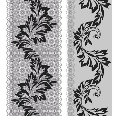 Black and white lace vertical seamless pattern with leaves. Vector set of 2. Use for embroidery, braid, tape, ribbon .