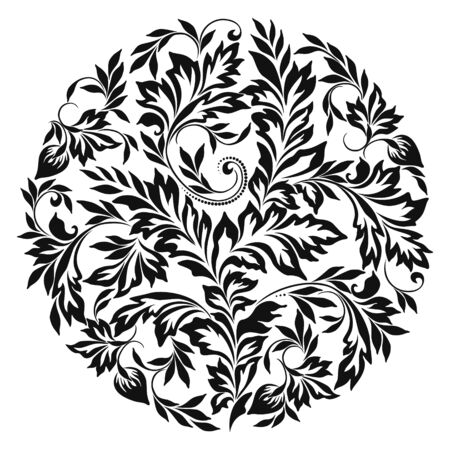 Beautiful classic black and white round pattern with leaves and flowers. Vector round print. Vektorgrafik