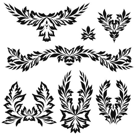 Black and white floral stencils for interior decoration, embroidery . Natural pattern - object isolated. Vector set of various ornaments, deco template. Illustration