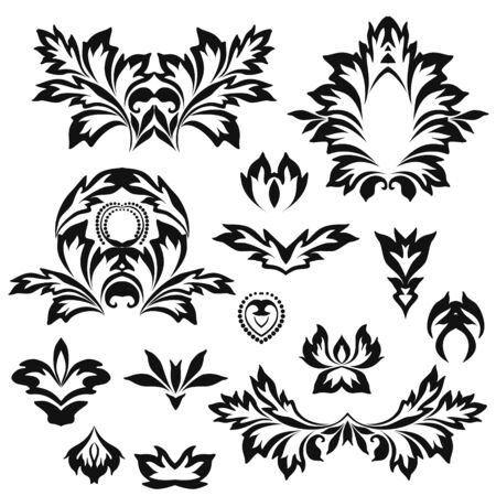 Black and white floral stencils for interior decoration, embroidery . Natural pattern - object isolated. Vector set of various ornaments, deco template.