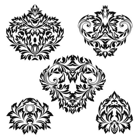 Set of vintage stencils for design. Black and white beautiful pattern with leaves. Vector clipart.