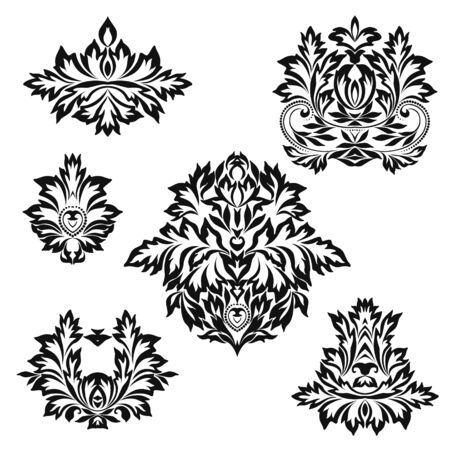 Set of vintage stencils for design. Black and white beautiful pattern with leaves. Vector clipart. Illustration
