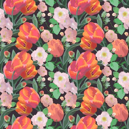 Seamless watercolor painted pattern with tulips and other flowers. Beautiful colored background. Vector print for design, for fabric decoration. Illustration