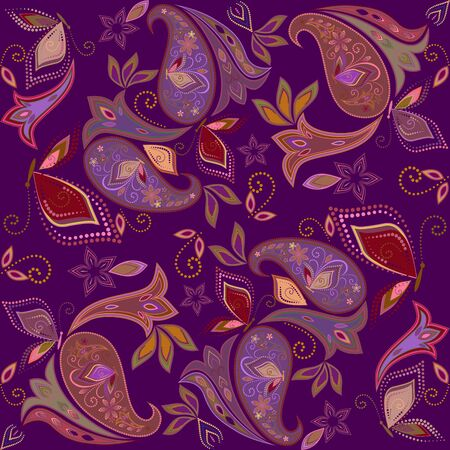 Bandana classic. Traditional ornamental ethnic pattern with paisley and butterflies. Vector print square Illustration