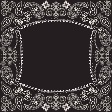 Bandana paisley design - black and white ornament. Traditional ethnic geometric pattern. Vector print square.