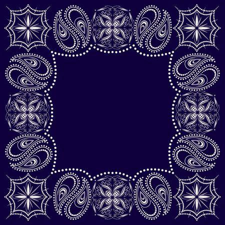 Bandana paisley design - blue and white ornament. Traditional ornamental floral pattern. Vector print square. Vector Illustratie
