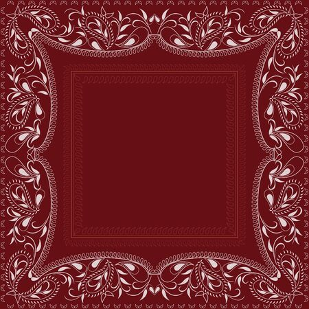 Bandana paisley design - red and white pattern. Traditional ethnic geometric ornament. Vector print square.