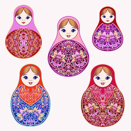 Satz bunte Verschachtelungspuppen. Traditionelles russisches Muster - Kunstsymbol. Klassisches Design und Dekoration, Vektordruck.
