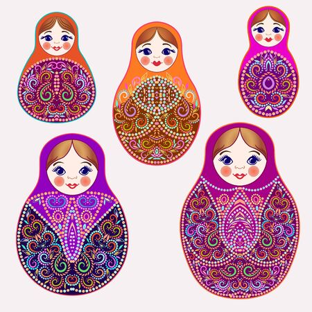Set of colorful nesting dolls. Traditional russian pattern - art symbol. Classical design and decorating, vector print. Vector Illustratie