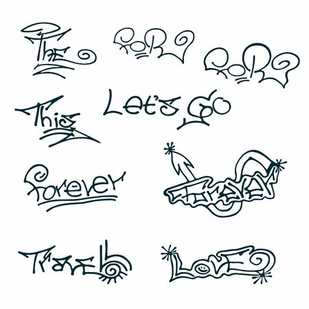 Black and white set of different words- travel, love, forever, for, the, this,lets go. Hand drawn elements for typography, graphic design. Vector clipart.