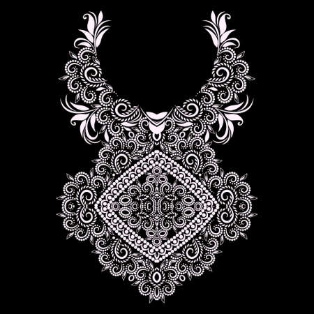 Neckline ethnic design. Ornamental black and white pendant. Vector print with decorative elements and beads for embroidery, for womens clothing. Vector Illustratie