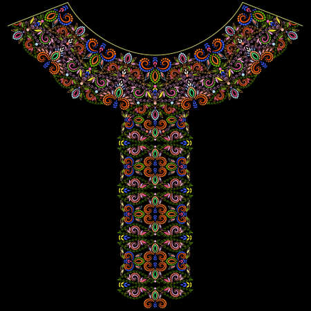 Neckline ethnic design. Floral colorful traditional pattern. Vector print with decorative elements and beads for embroidery, for clothing.
