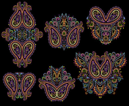Colorful collection of floral patterns and paisley. Traditional eastern symbols for decoration, for clothes. Ethnic ornament - object isolated. Vector bright print.