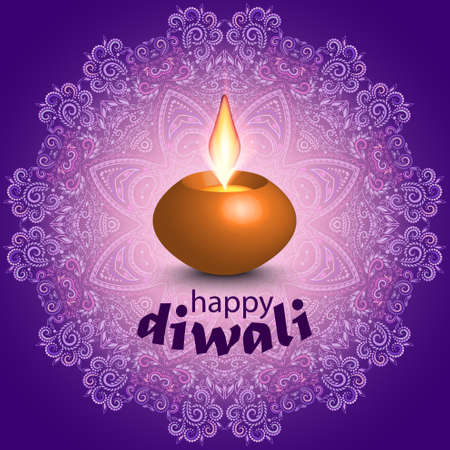 Diwali - colorful greeting card. Candle on a lace background.